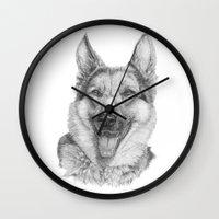 german Wall Clocks featuring German shephard by Doggyshop