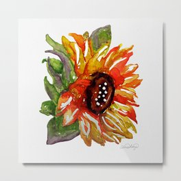 Sunflower Watercolor - Yellow Floral Metal Print