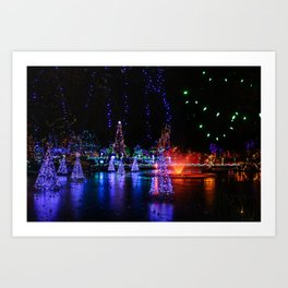 frozen pond lights Art Print
