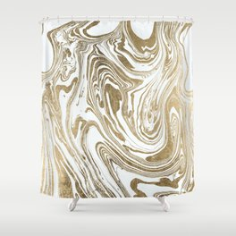 Stylish white faux gold foil elegant marble Shower Curtain