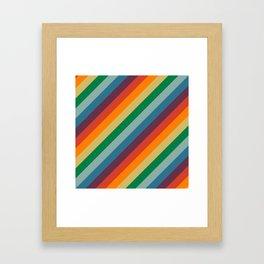 Retro Rainbow Stripes Framed Art Print