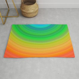Rainbow Smile Colored Circles Summer Pattern Rug