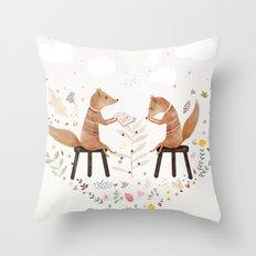 fox philosophers Throw Pillow