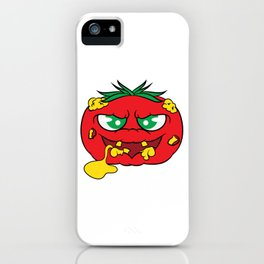 """""""Toxic tomato"""" tee design. Creepy and freaky shirt perfect to mock your friends this holiday!  iPhone Case"""