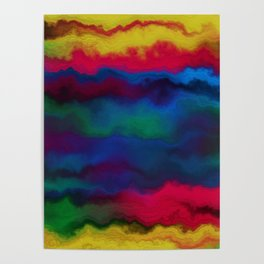 Abstract yellow pink navy blue watercolor ombre pattern Poster