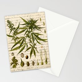 Marijuana Cannabis Botanical on Antique Journal Page Stationery Cards