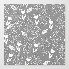 Kiwi Garden - Light Gray and White Canvas Print
