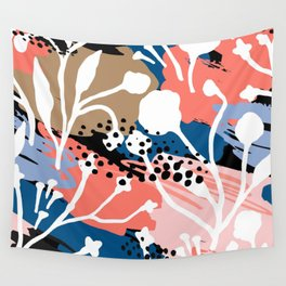 Coral pink white hand painted floral brushstrokes Wall Tapestry