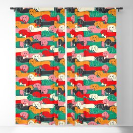 dachshund pattern- happy dogs Blackout Curtain