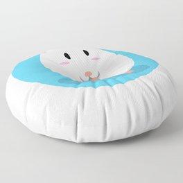 Cute White Hamster Eating Floor Pillow