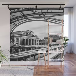 Union Station // Train Travel Downtown Denver Colorado Black and White City Photography Wall Mural