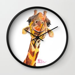 Nosey Giraffe ' Jo ' by Shirley MacArthur Wall Clock