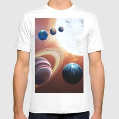 Planets Road Trip White Mens Fitted Tee MEDIUM