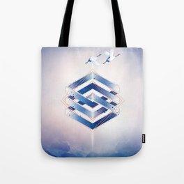 Indigo Hexagon :: Floating Geometry Tote Bag