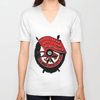 military V-neck T-shirts featuring USSR military symbol by fludra.info
