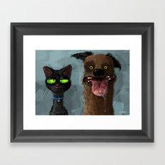 Cat is not impressed Framed Art Print