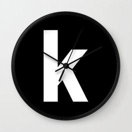 letter K (White & Black) Wall Clock
