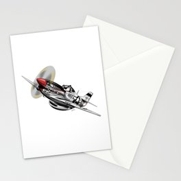 WW-II Warbird P-51 Mustang Airplane Cartoon Stationery Cards