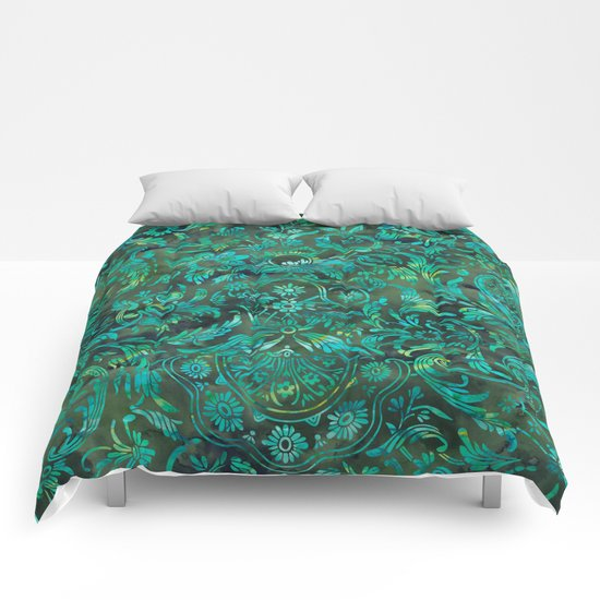 Watercolor Damask Pattern 05 Comforters
