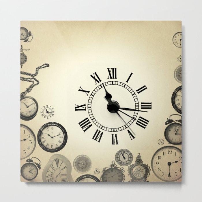 vintage clocks Metal Print