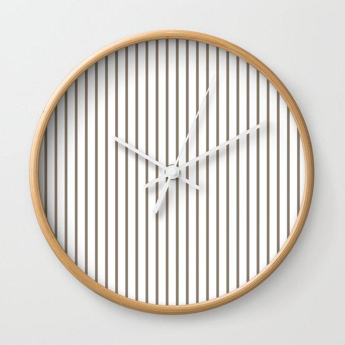 Mulch Brown Pinstripe on White Wall Clock