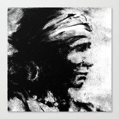 Stark - Native American Indian Portrait in B&W Canvas Print