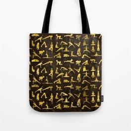 Gold Yoga Asanas / Poses pattern Tote Bag