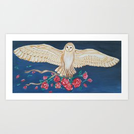 Barn Owl with Roses Art Print