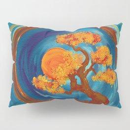 Enso Zen Circle and Bonsai Tree - impasto Pillow Sham