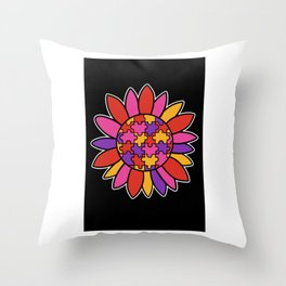 Autism Flower Puzzle Down Syndrome Trisomie 21 ASD Throw Pillow