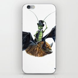 Rider in the Night.  Fantasy watercolor of a bat in the night with a cricket as his rider. Animal iPhone Skin
