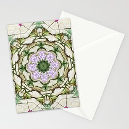 Orchids And Stone Wall Kaleidoscope 1764 Stationery Cards
