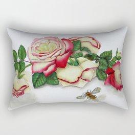 French Perfume Rose Swag Bee Art Rectangular Pillow