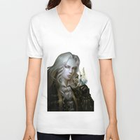 castlevania V-neck T-shirts featuring Alucard. Castlevania Symphony of the Night by Nell Fallcard