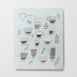 Coffee Drinks Diagram Metal Print