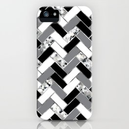 Shuffled Marble Herringbone - Black/White/Gray/Silver iPhone Case