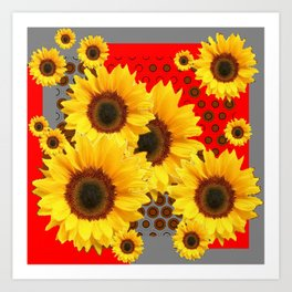 RED-YELLOW SUNFLOWERS GREY ABSTRACT Art Print