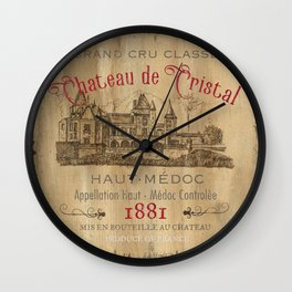 Barrel Wine Label 1 Wall Clock
