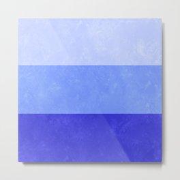 Blue Grunge Stripes Metal Print