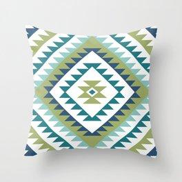 Aztec Motif Diamond Teals White Blue Lime Throw Pillow