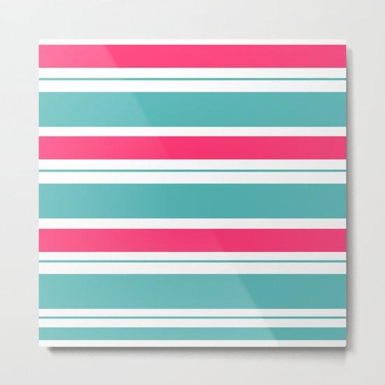 Turquoise And Fuschia Hot Pink Stripes Metal Print