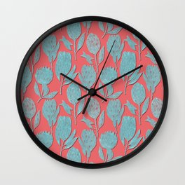Protea on coral pink Wall Clock