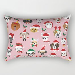 Christmas Dog Pattern Illustration Rectangular Pillow