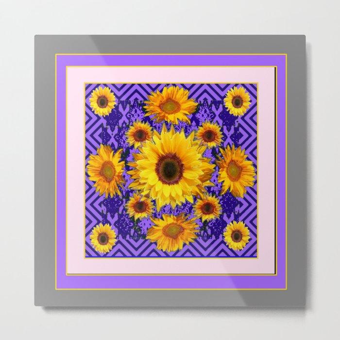 Grey Art Lilac Color & Yellow Sunflowers Garden art Metal Print