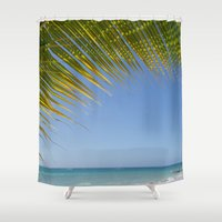 palm tree Shower Curtains featuring Palm Tree by Heartland Photography By SJW