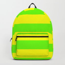 Bright Neon Green and Yellow Horizontal Cabana Tent Stripes Backpack