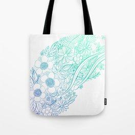 Ocean Flowers Party - Mint & Blue Tote Bag