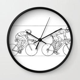 Transitions through Triathlon Cyclists Drawing B Wall Clock