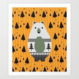 Cute bear, stripes and a fir forest Art Print