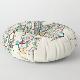 Colorful City Maps: New York City, USA Floor Pillow